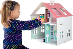 cardboard doll house with stickers
