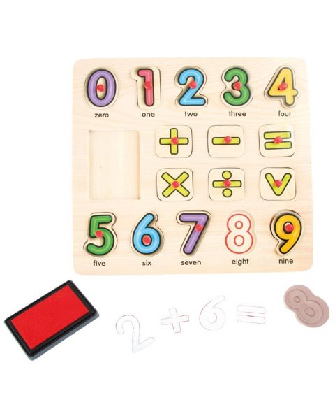 Wooden Arithmetic Stamp and Puzzle