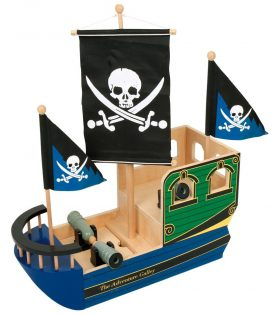 Wooden Skull and bones pirate ship