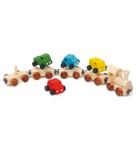 Wooden Train with Cars set