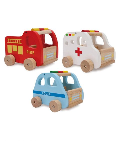 wooden rescue cars set