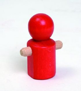 Wooden Little Running Red Man