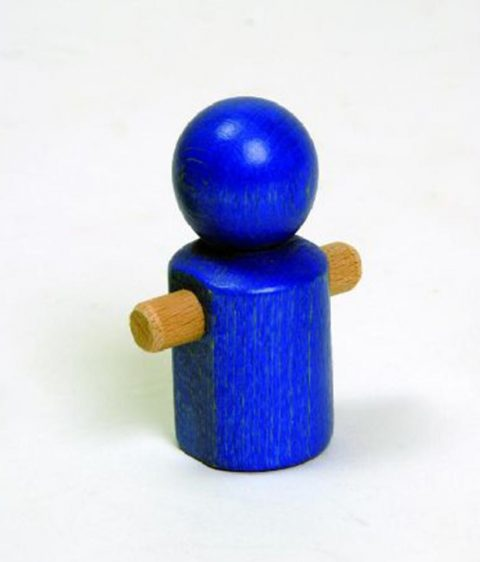 Wooden Little Running Blue Man