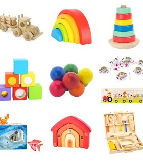 A collection of toys for children in hairdressing salon waiting room areas.