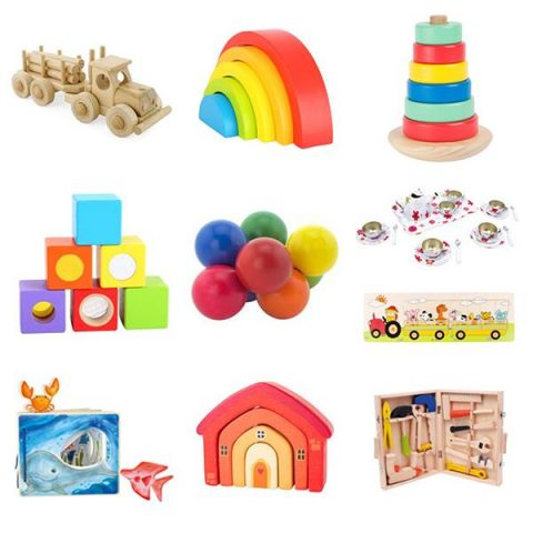 A collection of toys for children in building suppliers waiting room areas.