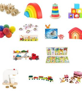 A collection of toys for children in cafes waiting room areas.