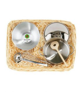 Stainless Steel Cooking set in cane basket