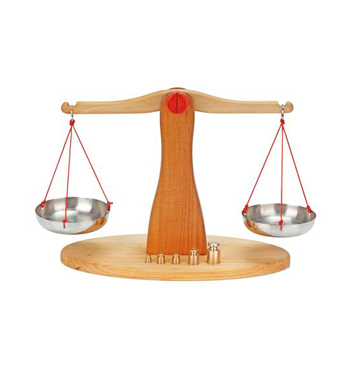 Wooden Balance Scale with 5 Brass Weights Alder Wood 39cm