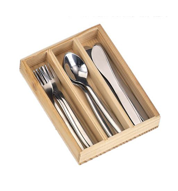 10cm Cutlery stainless steel 4 sets knife fork spoon in wooden box