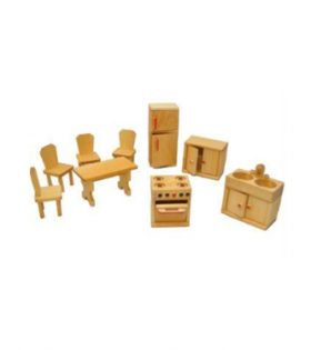 Drei Blaetter – Kitchen and Diningroom Dollhouse Furniture Set 9 pcs