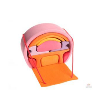 Grimm's Portable Doll House, Pink/Orange
