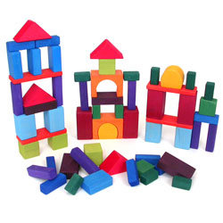 Wooden Blocks - Grimm's Spiel & Holz Traditional Coloured, 60 pieces