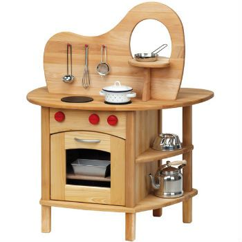 The Gluckskafer Double-sided Wooden Toy Kitchen With Fixture from AMouseWithAHouse Toy Store