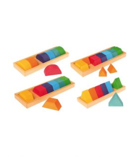 Grimm's Large Shapes & Colors Building Set, Part 2 – Colorful Wooden Blocks in 4 Geometric Forms with Storage Trays (4×4 Size)