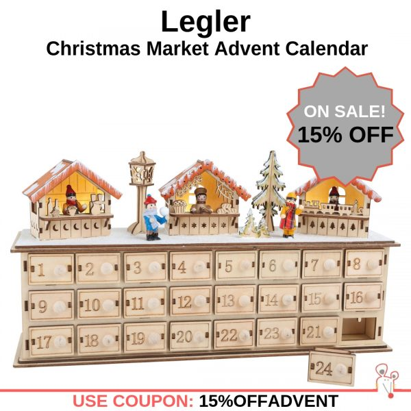 Enter the Coupon Code 15%OFFADVENT in the shopping cart on AMouseWithAHouse to save 15% off your purchase of the Legler - Christmas Market Advent Calendar decoration