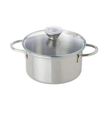 Stainless Steel Pot with Glass Lid (12 cm)
