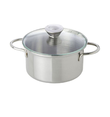 Stainless Steel Pot with Glass Lid (9 cm)