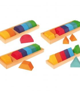 Grimm's Large Shapes & Colors Building Set, Part 2 - Colorful Wooden Blocks in 4 Geometric Forms with Storage Trays (4x4 Size)