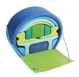 Grimm's Portable Doll House, Blue/Green