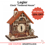 15% OFF Legler - Clock Timbered House Music Box Lighted Christmas Decoration