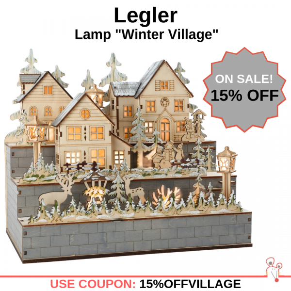 "Save 15% OFF Legler - Lamp ""Winter Village"" Christmas Decoration"