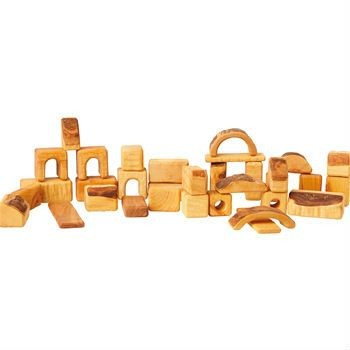 AMS - Natural Wooden Block Set - 34 Small Pieces