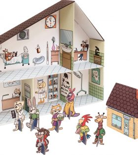Legler - Veterinarian Clinic Cardboard Doll's House